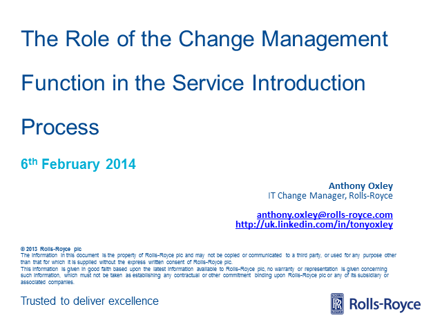 The Role of the Change Management Function in the Service Introduction Process