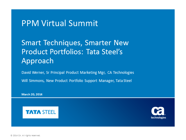 Smart Techniques, Smarter New Product Portfolios: Tata Steel's Approach
