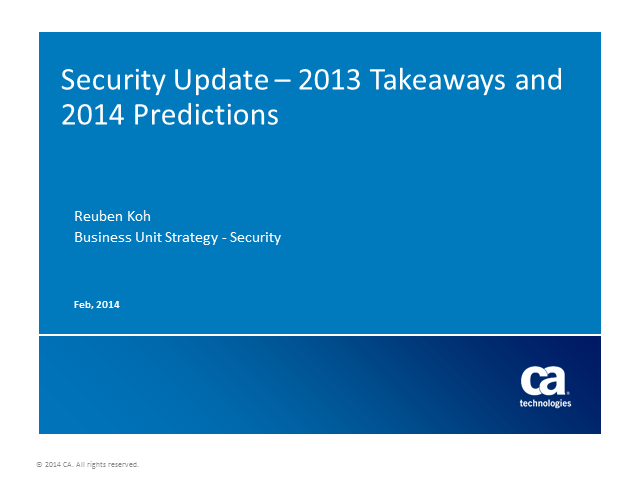 Security Update: 2013 Takeaways and Predictions for 2014 (Global Event)