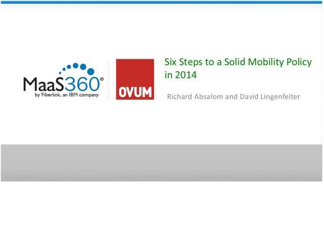 Part 2: Six Steps to a Solid Mobility Policy in 2014