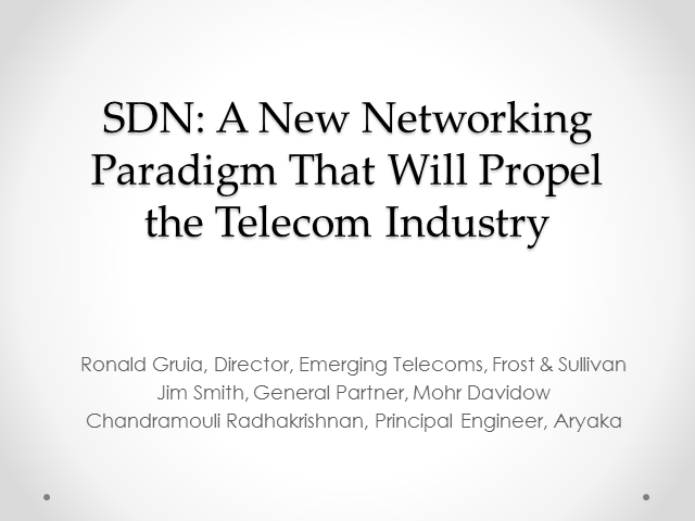 SDN: A New Networking Paradigm That Will Propel the Telecom Industry