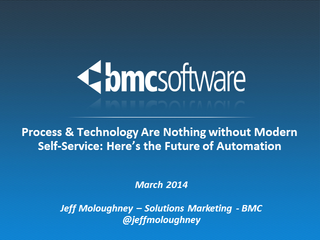 Process & Technology Are Nothing w/out Modern Self-Service: Future of Automation