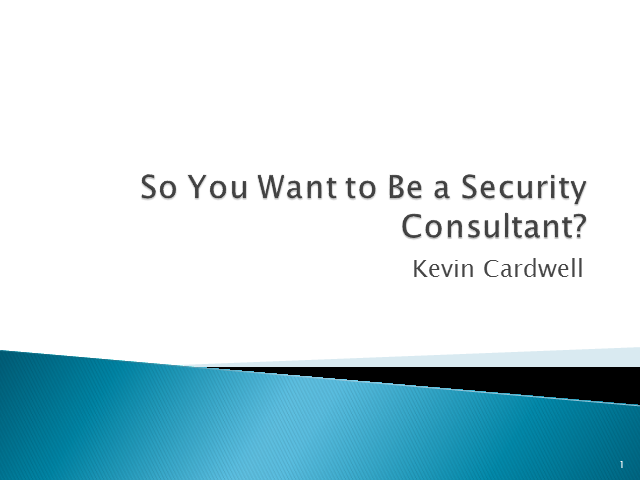 So, You Want to be a Computer Security Consultant