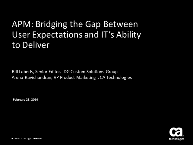 APM: Bridging the Gap between User Expectations and IT's Ability to Deliver
