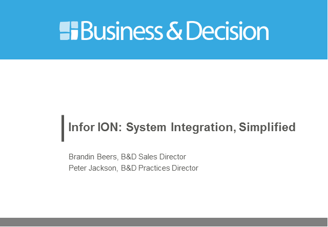 Infor ION: Systems Integration, Simplified.
