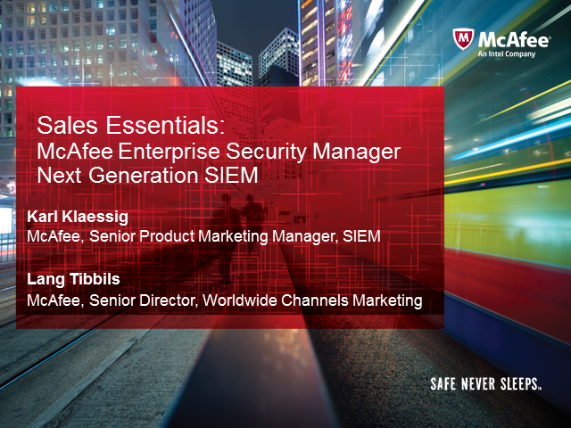 McAfee Next Generation SIEM for Big Security Data