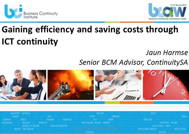 Gaining Efficiency and Saving Costs through ICT Continuity