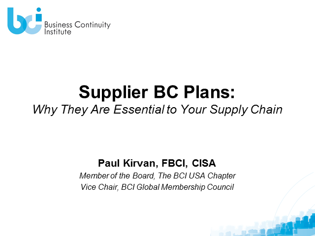 Supplier BCM Plans: Why They Are Essential to Your Supply Chain