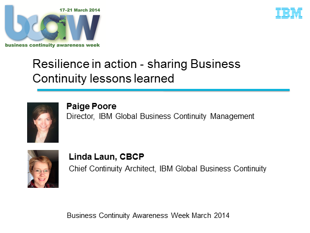 Resilience in Action - Sharing Business Continuity Lessons Learned