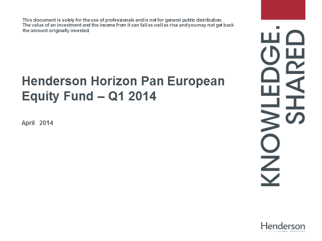 Henderson Horizon Pan European Equity Fund - Quarterly update