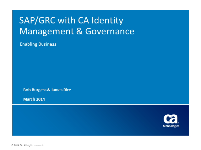 Identity Management and Governance for SAP Environments