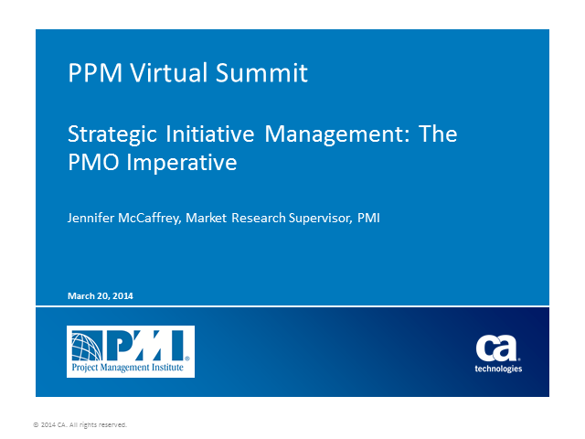 Strategic Initiative Management: The PMO Imperative
