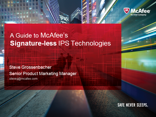 A guide to McAfee's Signature-less IPS technologies