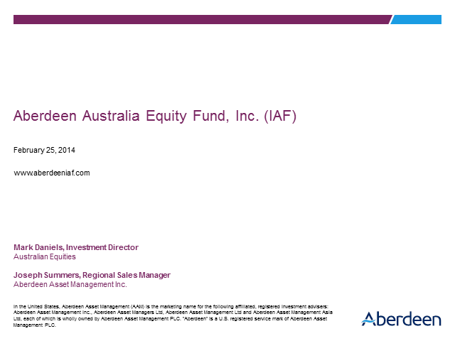Aberdeen Australia Equity Fund, Inc. (IAF) Update