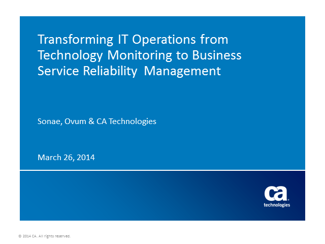 Transforming IT Operations for Business Service Reliability