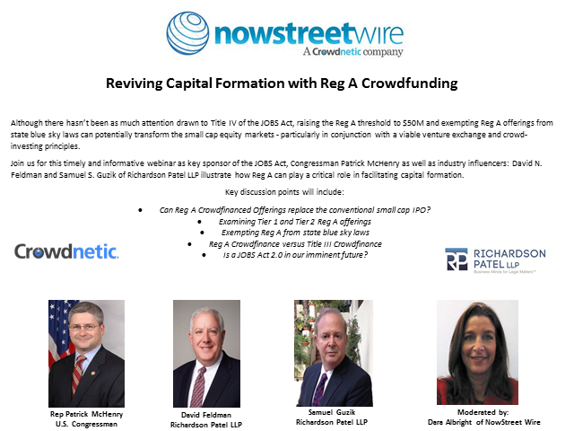 Reviving Capital Formation with Reg A Crowdfunding