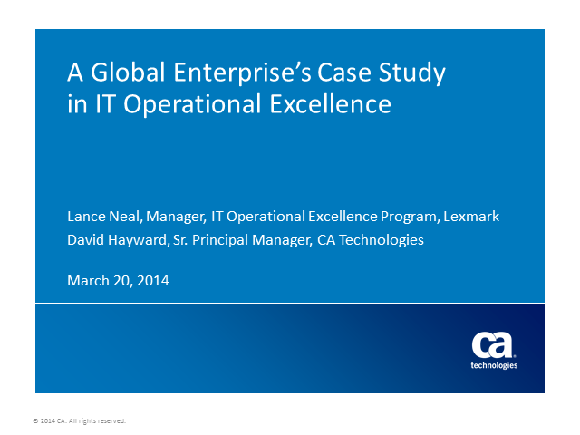 A Global Enterprise's Case Study in IT Operational Excellence