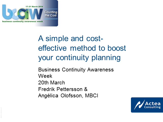A simple and cost-effective method to boost your continuity planning