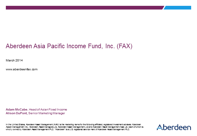 Aberdeen Asia-Pacific Income Fund, Inc. (FAX)