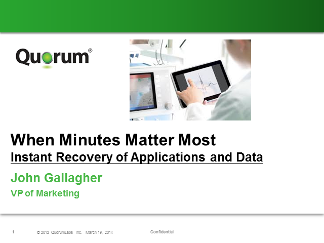 When Minutes Matter: Instant Recovery of Applications and Data