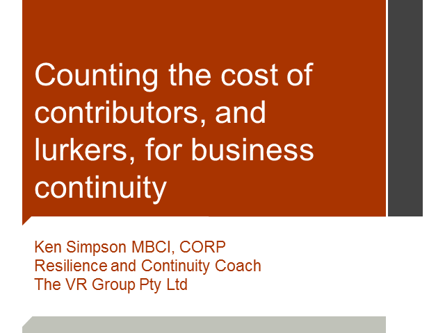 Counting the cost, of contributors and lurkers, for business continuity