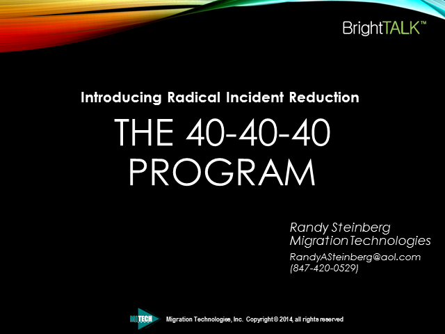 Introducing Radical Incident Reduction: The 40-40-40 Program