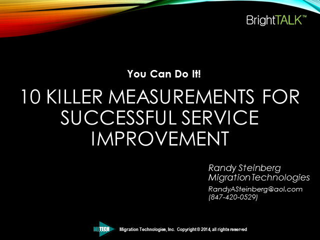 10 Killer Measurements For Successful Service Improvement