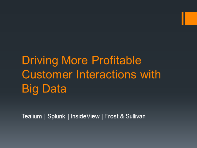 Panel: Driving More Profitable Customer Interactions with Big Data