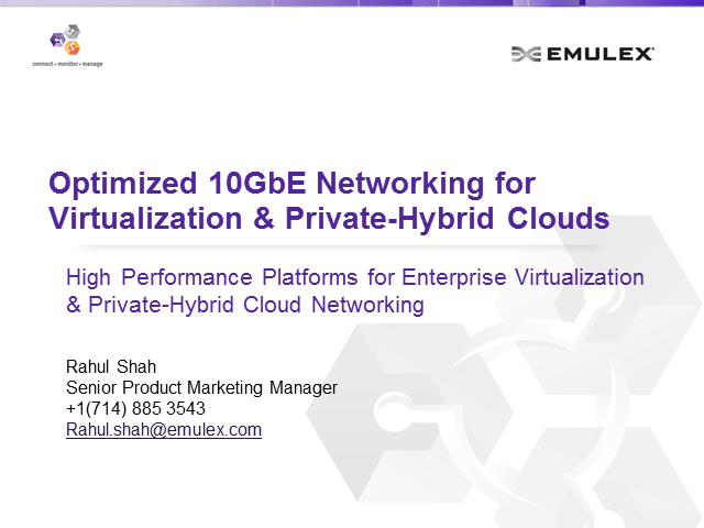 Optimized 10Gbe Networking for Virtualization & Private-Hybrid Clouds