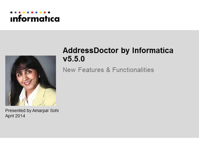 AddressDoctor by Informatica V 5.5.0 - New features and functionalities