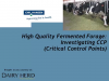 High Quality Fermented Forage: Investigating CCP (Critical Control Points)