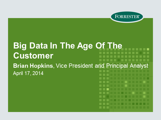 Big Data In The Age Of The Customer