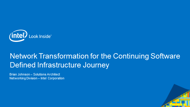 Continuing the Network Transformation Journey