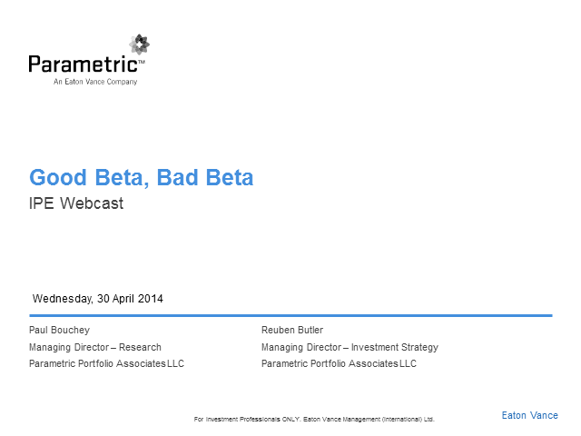Good Beta, Bad Beta: Not all smart beta strategies are smart