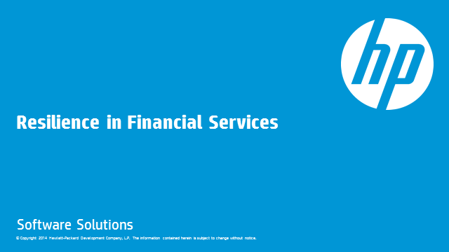 Resiliency for the Financial Services Industry