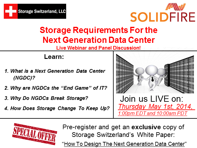Storage Requirements for the Next Generation Data Center