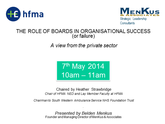 The role of Boards in Organisational Success (or Failure)