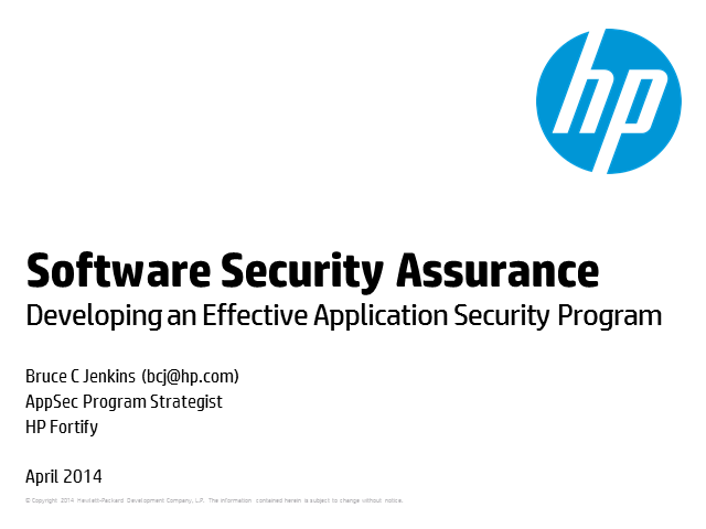 Software Security Assurance-Developing an Effective Application Security Program