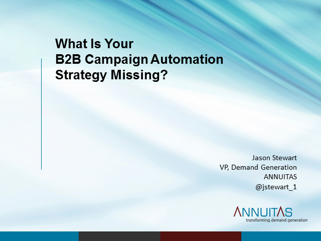 Panel: What is your B2B Campaign Automation Strategy Missing?