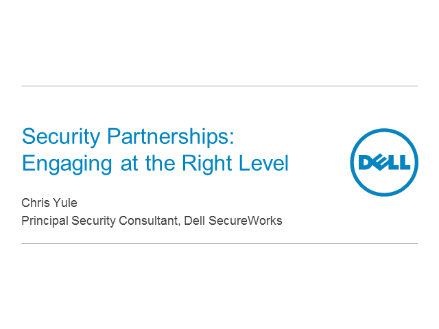 The value of a security partnership:  Engaging at the right level