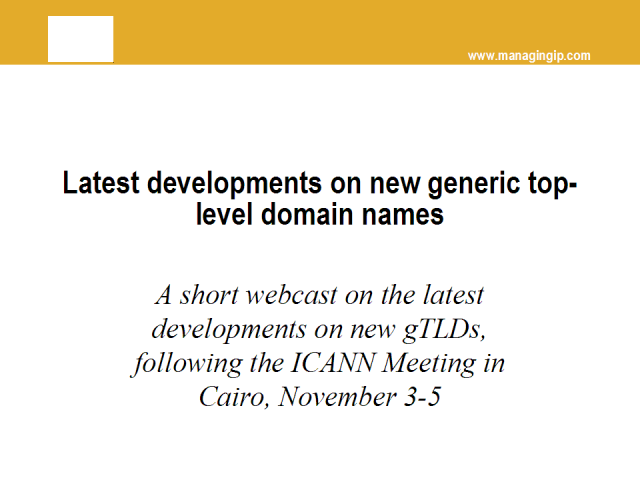 Latest developments with new gTLDs