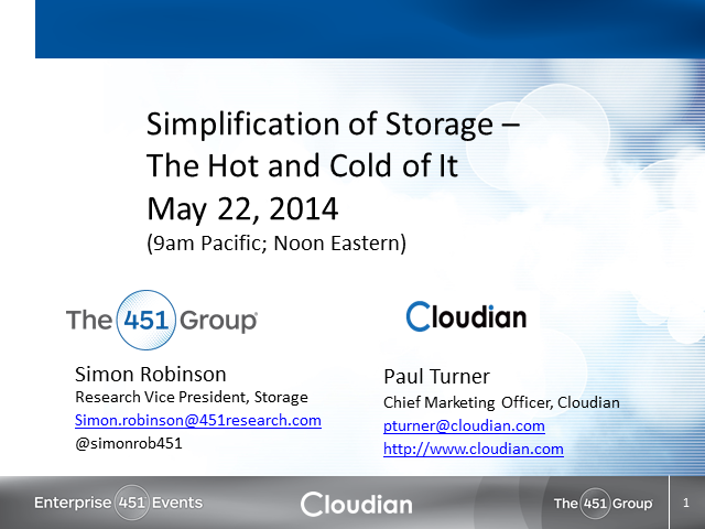 Simplification of Storage - The Hot and the Cold of It