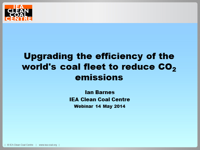 Upgrading the efficiency of the world's coal fleet to reduce CO2 emissions