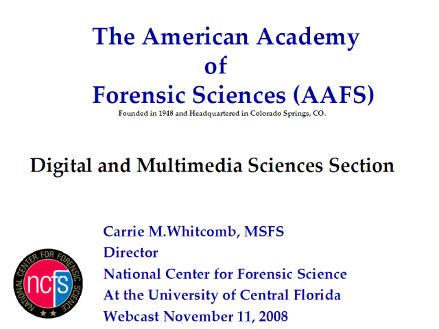 The Newly Formed Digital & Multimedia Sciences Section of AAFS