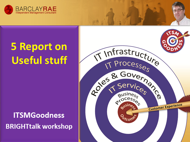 Report on Useful Stuff - ITSM Goodness Series - Part 5 of 8