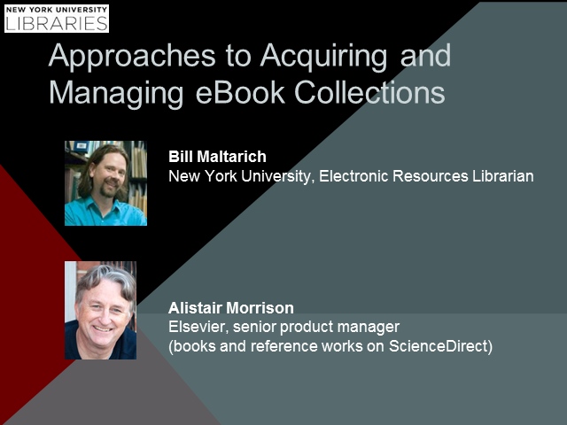 Approaches to Acquiring and Managing eBook Collections