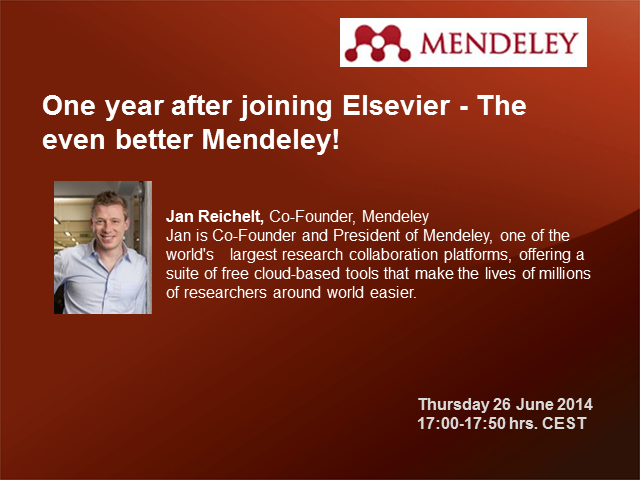 The even better Mendeley – One year after joining Elsevier.