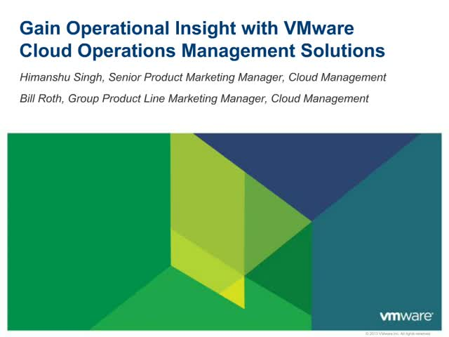 Gain Operational Insight with VMware vCenter Operations Management Solutions