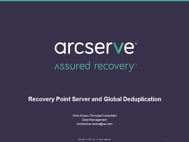 arcserve UDP - Global Deduplication and Recovery Point Server