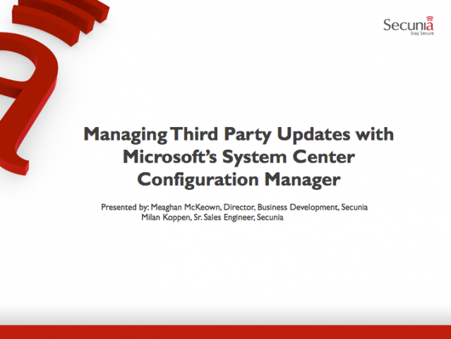 Managing 3rd Party Updates with Microsoft's System Center Configuration Manager